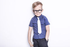 Little adorable kid in tie and glasses. School. Preschool. Fashion. Studio portrait isolated over white background. Portrait of a little boy in a funny glasses stock images