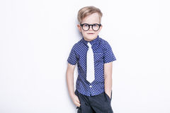 Little adorable kid in tie and glasses. School. Preschool. Fashion. Studio portrait isolated over white background. Portrait of a little boy in a funny glasses stock image