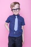 Little adorable kid in tie and glasses. School. Preschool. Fashion. Studio portrait over pink background. Stylish boy in shirt and glasses with big smile. School royalty free stock photography