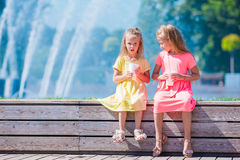 Little adorable kids eating ice cream on summer Royalty Free Stock Photography