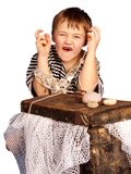 A little aea pirate with full treasure chest Royalty Free Stock Photo