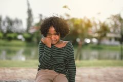Little African american boy crying Stock Photos
