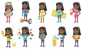 Little african girl vector illustrations set. Royalty Free Stock Photo