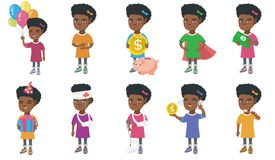 Little african girl vector illustrations set. Royalty Free Stock Image