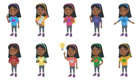 Little african girl vector illustrations set. Stock Images