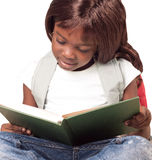 School child girl reading book. Cute african american school child girl reading book, education concept stock photos
