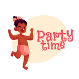 Little african baby girl dancing happily, party invitation, poster design Stock Photo