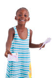Little african girl holding 500 hundred euro bills - Black peopl. Little african girl holding 500 hundred euro bills, isolated on white background - Black people Stock Photo