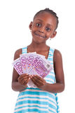 Little african girl holding 500 hundred euro bills - Black peopl. Little african girl holding 500 hundred euro bills, isolated on white background - Black people Royalty Free Stock Images