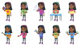 Little african girl vector illustrations set. Stock Image
