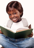 African school girl. Cute african school child girl reading book, education concept Royalty Free Stock Photos