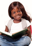 School child girl reading book. Stock Photo