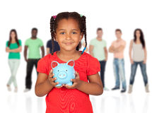 Little afroamerican girl with money box Royalty Free Stock Photography
