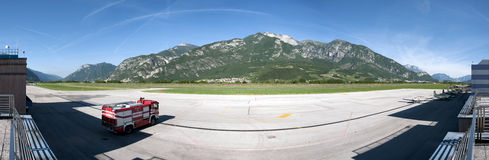 Little airport. The airport Gianni Caproni in Trento is located south of the town of Trento, surrounded by the beautiful mountains of the valley of the Adige is Stock Images
