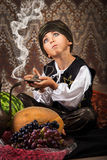 Little Aladdin with lamp Royalty Free Stock Image