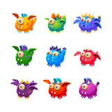 Little Alien Dragon Like Monsters Set. Of Bright Color Vector Icons Isolated On White Background. Cute Childish Fantastic Animal Characters Design Royalty Free Stock Image
