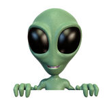 Little alien on top of blank sign. 3d rendering of a little green cartoon alien over a blank sign Stock Photo