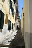 Little alley in Alfama in Lisbon, Portugal Royalty Free Stock Image