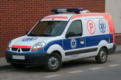 Little Ambulance. And brick wall behind. Europe, Poland stock photo