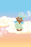 Little angel. A little happy angel is praying on light clouds Royalty Free Stock Photos