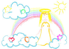 Little angel. A childish style illustrated angel in clouds with rainbow and symbols Royalty Free Stock Photography