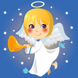 Little Angel. Cute little angel Gabriel announcing with a trumpet the arrival of Christmas Stock Photo