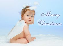 Little Angel. Christmas theme: Little Angel - portrait of a baby boy with angel wings Royalty Free Stock Photo
