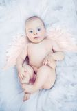 Little angel. Relaxing over white background Royalty Free Stock Photo