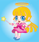 Little angel. Is flying with smile face Royalty Free Stock Photo