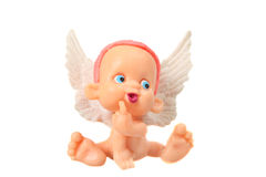 Little angel. With wings on white background Royalty Free Stock Photography