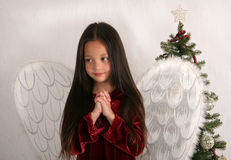 Little Angel. Little girl dressed in angel wings, with her hands clasped in prayer with a Christmas tree in background Stock Photos