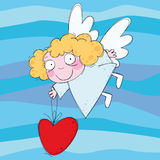 Little angel. With big red heart in the sky Stock Images