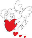 Little angel. Little funny angel with big red heart Stock Photography