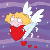 Little angel. With heart in the night sky Stock Image