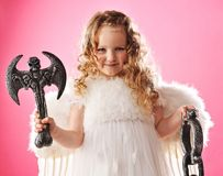 little angel with an axe Stock Photography