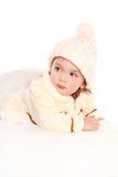 Little angel baby girl. Isolated at white background Royalty Free Stock Photo