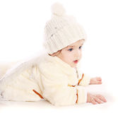 Little angel baby girl. Isolated at white background Stock Photography