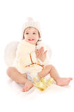 Little angel baby girl. Isolated at white background Stock Images