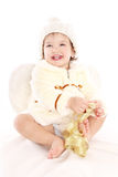 Little angel baby girl. Isolated at white background Royalty Free Stock Image