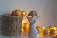 Little angel with balloons on Valentine`s Day Royalty Free Stock Images