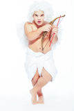 Little angel with a bow posing Royalty Free Stock Image