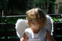 Little angel child. Little white angel child portrait Royalty Free Stock Photos
