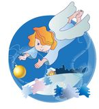 A little angel and Christmas ball Stock Photography