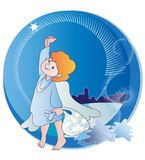 The little angel and  Christmas Stars Stock Images
