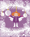 Little angel on christmas tree. Vector graphic card with nice angel girl  on purple background with christmas decoration Royalty Free Stock Image