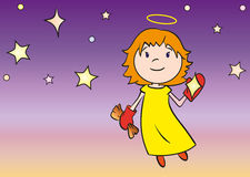 Little angel cleaning a star. Cute little angel cleaning a star Royalty Free Stock Image