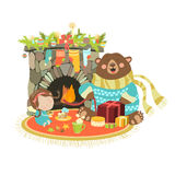 Little angel cute bear sitting near a fireplace. Vector illustration Royalty Free Stock Photos