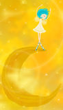 Little angel dancing on the moon. Illustrated cute little angel dancing on the moon Stock Images