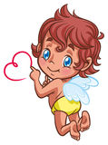 Little angel drawing heart with finger Royalty Free Stock Photography