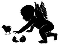 Little angel with Easter chick. Little angel silhouette with Easter chick Royalty Free Stock Photos